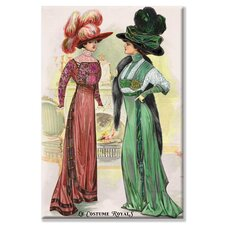 Le Costume Royals Ladies in Ostrich Feathered Hats Graphic Art on Wrapped Canvas