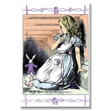 'Alice in Wonderland Alice Watches the White Rabbit' by John Tenniel Painting Print  on Wrapped Canvas