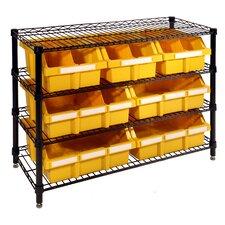 "30"" H 4 Shelf Commercial Bin Rack System"