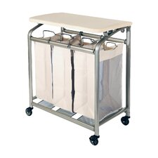 3 Bag Laundry Sorter with Folding Table