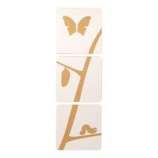 Caterpillar to Butterfly 3 Piece Graphic Art Set (Set of 3)