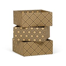 Diamond Print Decorative Storage Boxes (Set of 3)