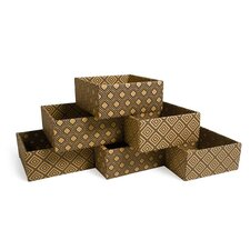 Diamond Print Decorative Storage Boxes (Set of 6)