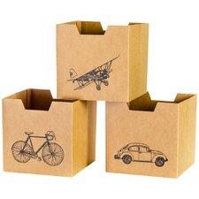 Vehicle Cardboard Storage Bin (Set of 3)