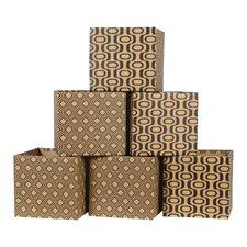 Leaf Pattern Cardboard Storage Bin (Set of 6)
