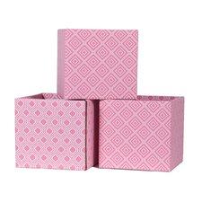 Pink and White Cardboard Storage Bin