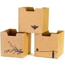 Bird Cardboard Storage Bin (Set of 3)