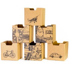 City Print Cubby Bin (Set of 6)