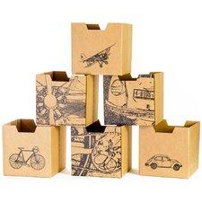 City Print Cardboard Storage Bin (Set of 6)