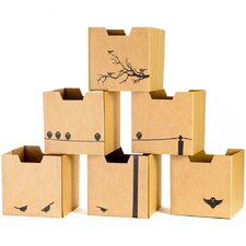 Bird Print Cardboard Cubby Bin (Set of 6)