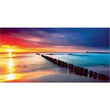 Glasbild Ostsee mit schönem Sonnenaufgang am polnischen Strand Fotodruck
