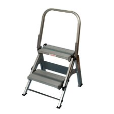 2-Step Aluminum Folding Safety Step Stool with 375 lb. Load Capacity