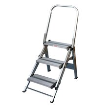 3-Step Aluminum Folding Safety Step Stool with 375 lb. Load Capacity