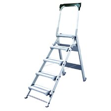 5.58 ft Aluminum Folding Safety Step Ladder with 375 lb. Load Capacity