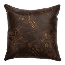 Stampede Fabric Leather Throw Pillow