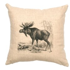 Moose Scene Throw Pillow