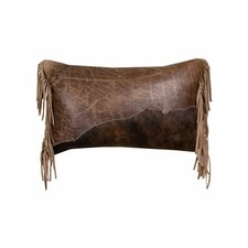Butte Leather Flap and Butte Leather Fringe Leather Lumbar Pillow