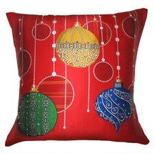 Holiday Elegance Sparkling Ornaments Silk Throw Pillow