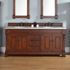 """Brookfield 72"""" Double Country Oak Bathroom Vanity Set with Drawers"""