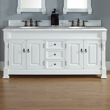 """Brookfield 72"""" Double Cottage White Bathroom Vanity Set with Drawers"""