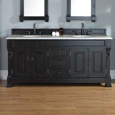 "Brookfield 72"" Double Antique Black Bathroom Vanity Set with Drawers"