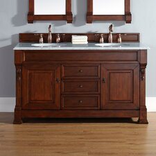"""Brookfield 60"""" Double Warm Cherry Bathroom Vanity Set with Drawers"""