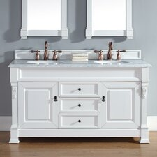 """Brookfield 60"""" Double Cottage White Bathroom Vanity Set with Drawers"""