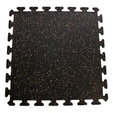 iFLEX Recycled Rubber Interlocking Floor Tiles in Black with Tan Specks
