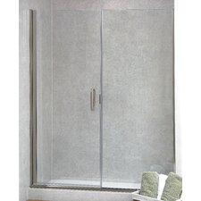 """Paragon Illusion 70"""" x 35.25"""" Hinged Frameless Shower Door and Inline Panel"""
