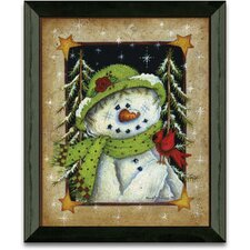 Feathered Friend Winter and Holiday by Mary Ann June Framed Graphic Art