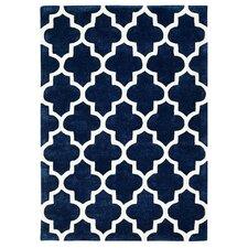 Handgetufteter Teppich Arabesque in Blau