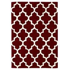 Handgetufteter Teppich Arabesque in Rot