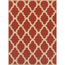 Teppich Trellis Flatweave in Rot