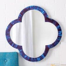 Lapis Blue Bone-Tiled Quatrefoil Mirror