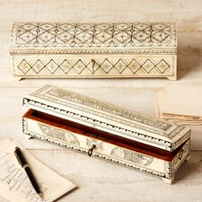 2 Piece Long Flower Design Bone Inlay Box Set with Lock and Key