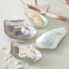 Watercolors Sea Glass Lustrous Shell Plates (Set of 4)