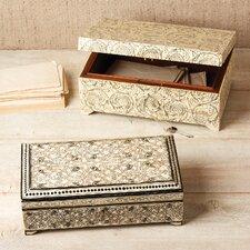 Zanzibar Black Leaf Design Bone Inlay Jewelry Box with Lock/Key (Set of 2)