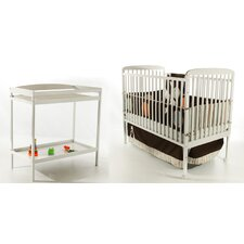 2-in-1 Full Size Crib and Changing Table Combo in White