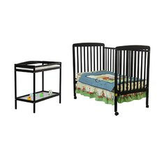 Two in One Crib and Changing Table Combo in Black