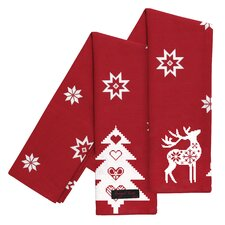 Tracy Christmas Reindeer & Fir Trees Tea Towel