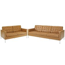 Loft 2 Piece Leather Loveseat and Sofa Set