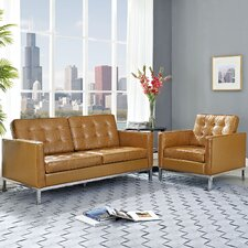 Loft 2 Piece Leather Arm Chair and Loveseat Set