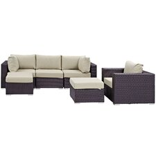 Convene 6 Piece Outdoor Patio Sectional Set with Cushions