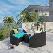 Magatama 3 Piece Lounge Seating Group with Cushion