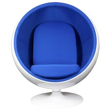 Modway Kaddur Lounge Chair - White Frame and Blue Fabric