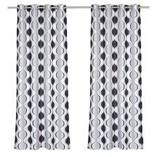 Zen Hourglass Faux Silk Grommet Curtain Panel (Set of 2)