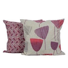 Floral Zagzag Printed Throw Pillow (Set of 2)