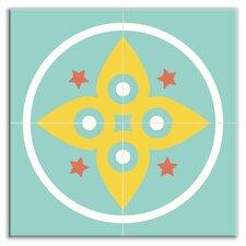 "Organic Origins 8-1/2"" x 8-1/2"" Glossy Decorative Tile Quad in Morning Star"