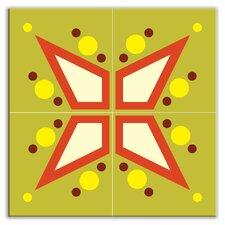 "Earth Quads 8-1/2"" x 8-1/2"" Glossy Decorative Tile Quad in Mod Star Green"