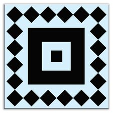 "Folksy Love 4-1/4"" x 4-1/4"" Glossy Decorative Tile in Checkers Black-Light Blue"